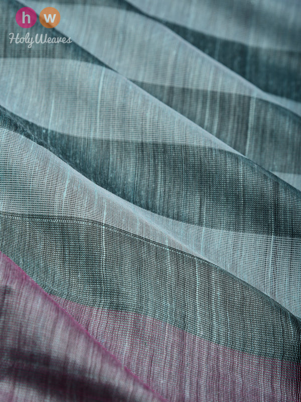Opal Green Cabana Stripes Woven Cotton Silk Dupatta - HolyWeaves