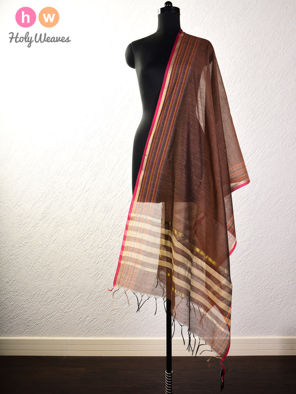 Tuscan Brown Woven Cotton Silk Dupatta- HolyWeaves