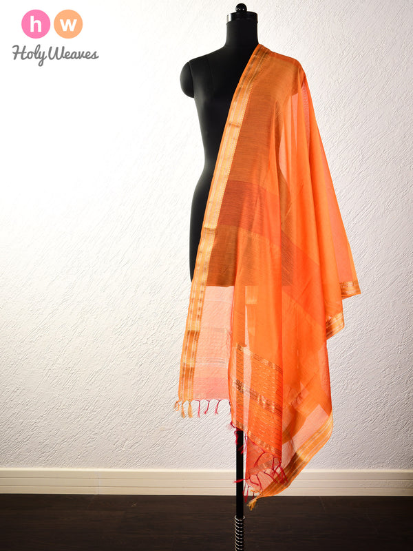 Orange Woven Cotton Silk Dupatta with Brocade Border - HolyWeaves