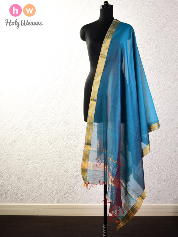 Teal Blue Woven Cotton Silk Dupatta with Brocade Border - HolyWeaves