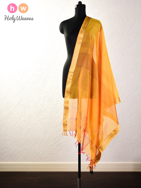 Marigold Yellow Woven Cotton Silk Dupatta with Brocade Border - HolyWeaves