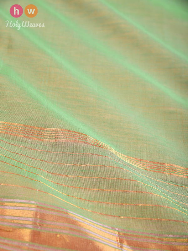 Green Woven Cotton Silk Dupatta with Brocade Border - HolyWeaves