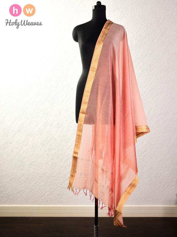 Apricot Peach Woven Cotton Silk Dupatta with Brocade Border - HolyWeaves