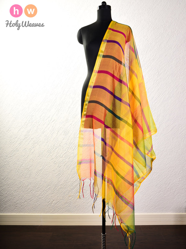 Yellow Woven Poly Cotton Silk Dupatta with Multi-color Stripes- HolyWeaves
