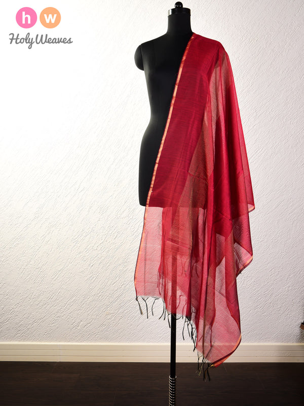 Maroon Zari Pin Stripes Woven Cotton Silk Dupatta- HolyWeaves