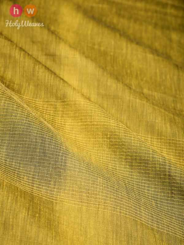 Olive Green Zari Pin Stripes Woven Cotton Silk Dupatta- HolyWeaves