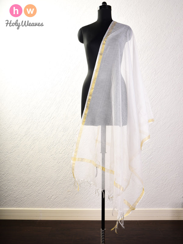 White Net Woven Poly Cotton Silk Dupatta - HolyWeaves