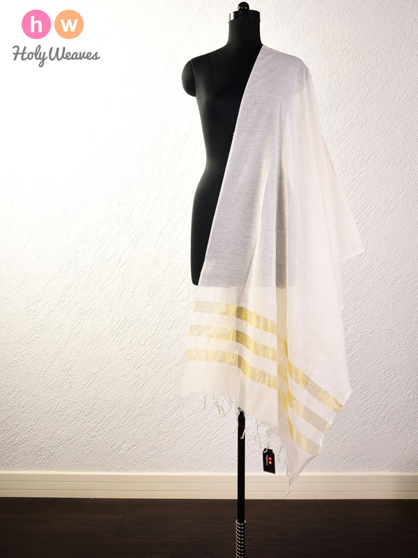 White Woven Cotton Silk Dupatta- HolyWeaves