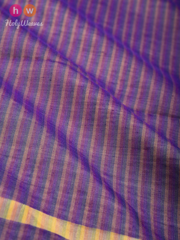 Purple Candy Stripes Woven Poly Cotton Silk Dupatta - HolyWeaves