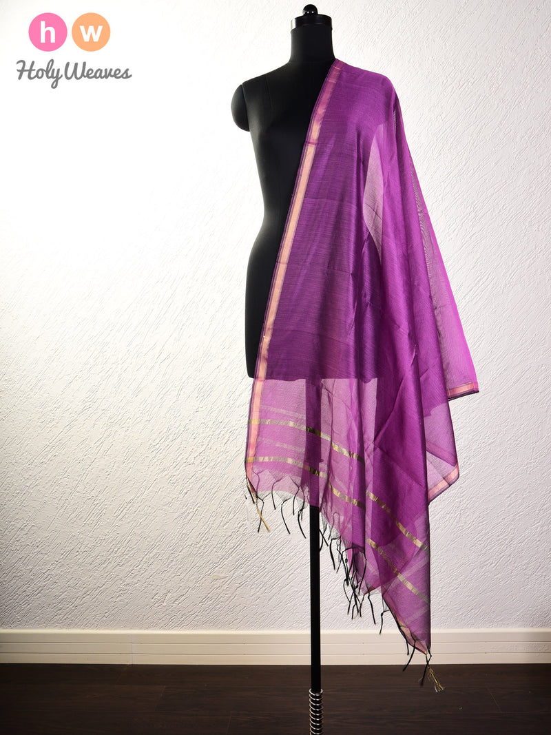 Byzantium Purple Woven Cotton Silk Dupatta - HolyWeaves