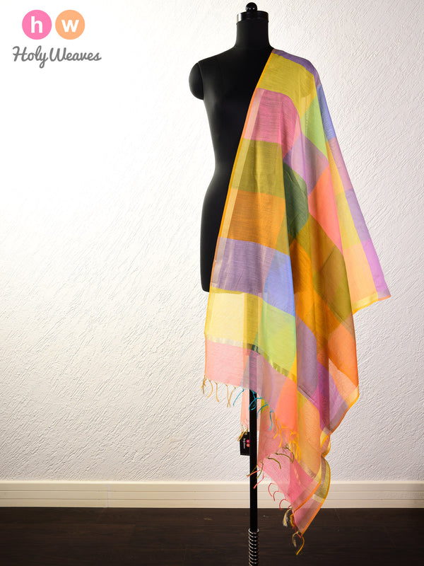 Multi-color Woven Cotton Silk Dupatta - HolyWeaves