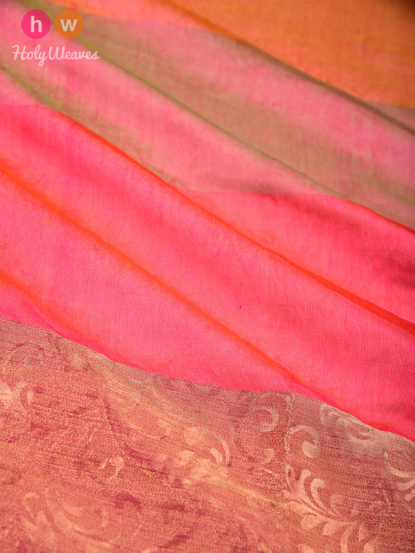 Pink Embossed Woven Poly Cotton Silk Dupatta- HolyWeaves