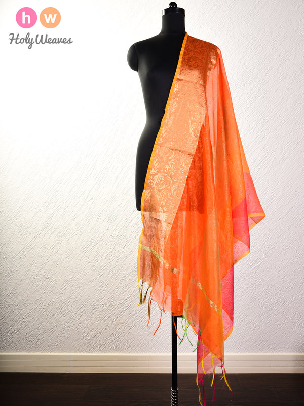 Orange Embossed Woven Poly Cotton Silk Dupatta- HolyWeaves