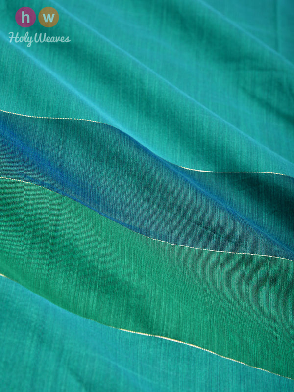 Green Zari Pin Stripes Woven Cotton Silk Dupatta - HolyWeaves