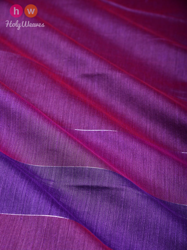 French Lilac Zari Pin Stripes Woven Cotton Silk Dupatta - HolyWeaves