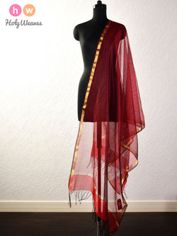 Red Stripes Woven Poly Cotton Silk Dupatta - HolyWeaves