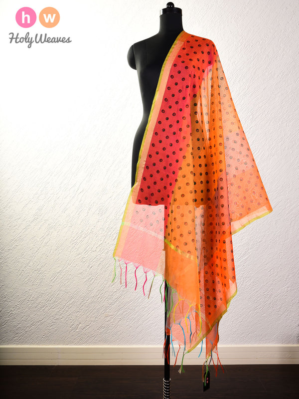 Orange Printed Cotton Silk Dupatta - HolyWeaves