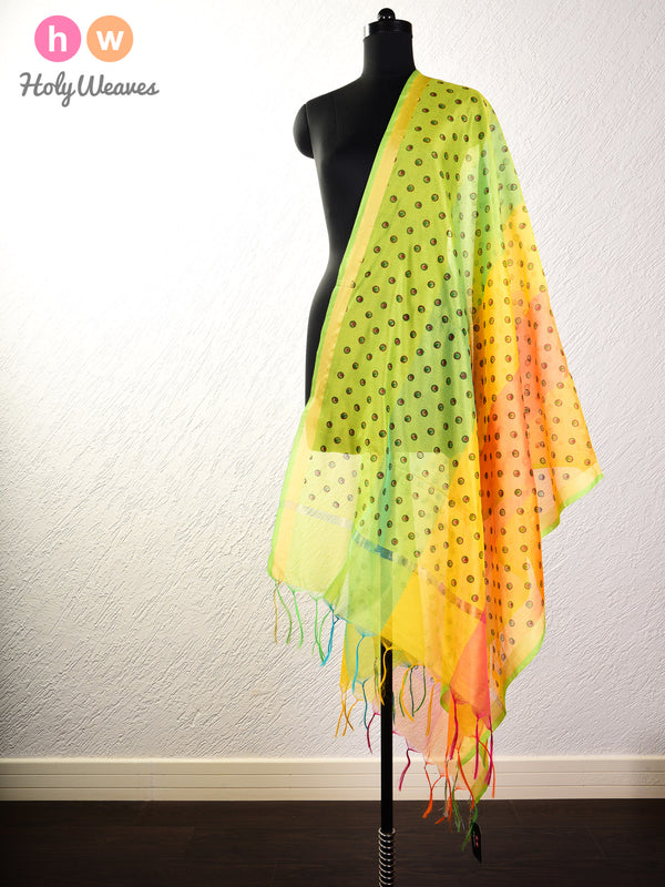 Yellow Printed Cotton Silk Dupatta - HolyWeaves