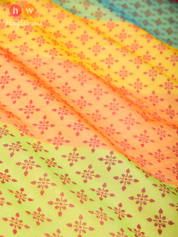 Yellow Windmill Printed Cotton Silk Dupatta - HolyWeaves