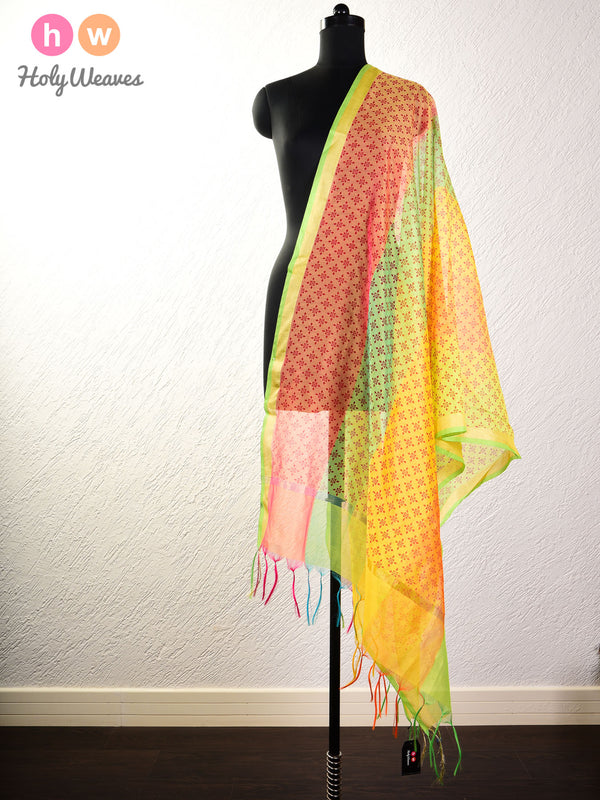Yellow Windmill Printed Cotton Silk Dupatta- HolyWeaves