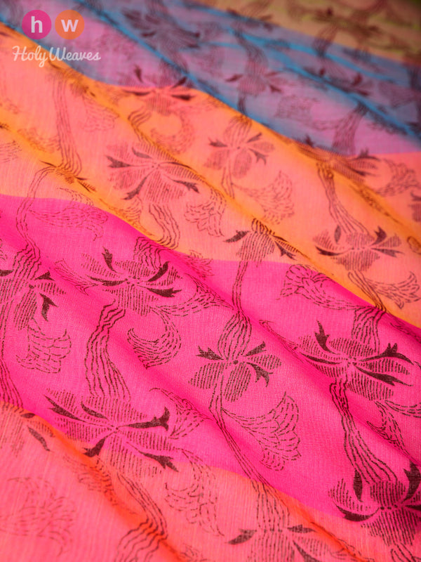 Pink Floral Printed Cotton Silk Dupatta - HolyWeaves
