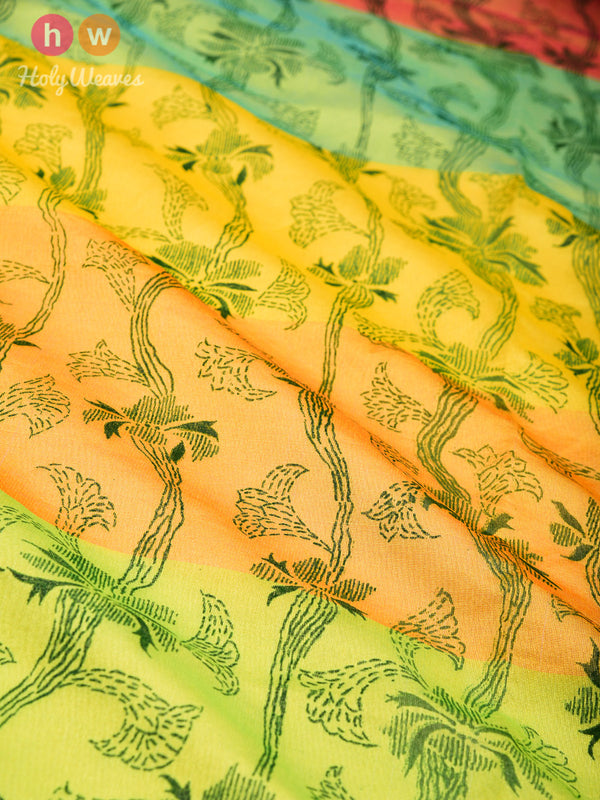 Yellow Floral Printed Cotton Silk Dupatta- HolyWeaves