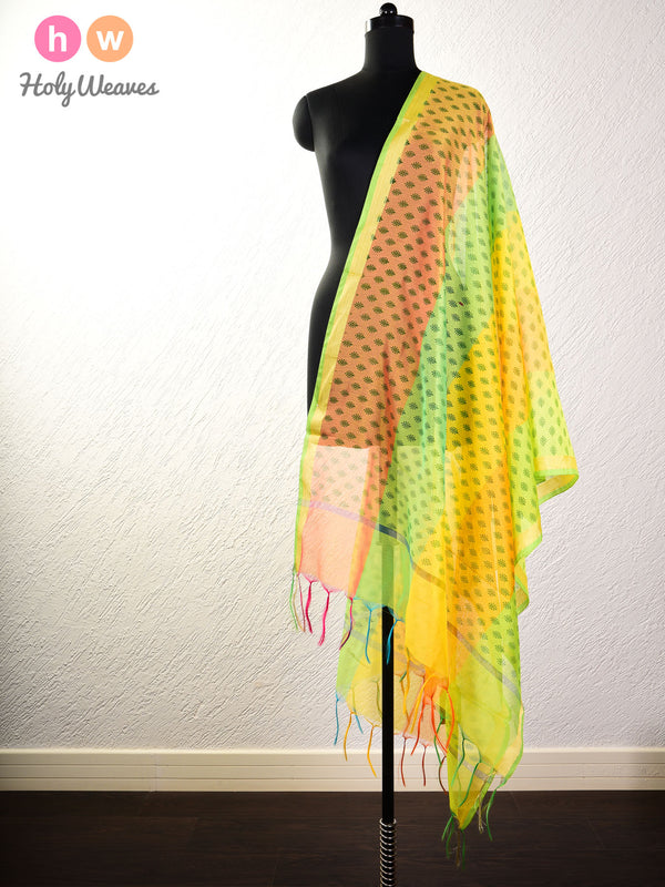 Yellow Printed Poly Cotton Silk Dupatta- HolyWeaves