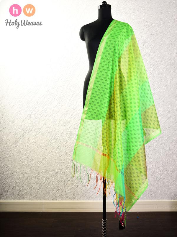 Green Printed Poly Cotton Silk Dupatta - HolyWeaves