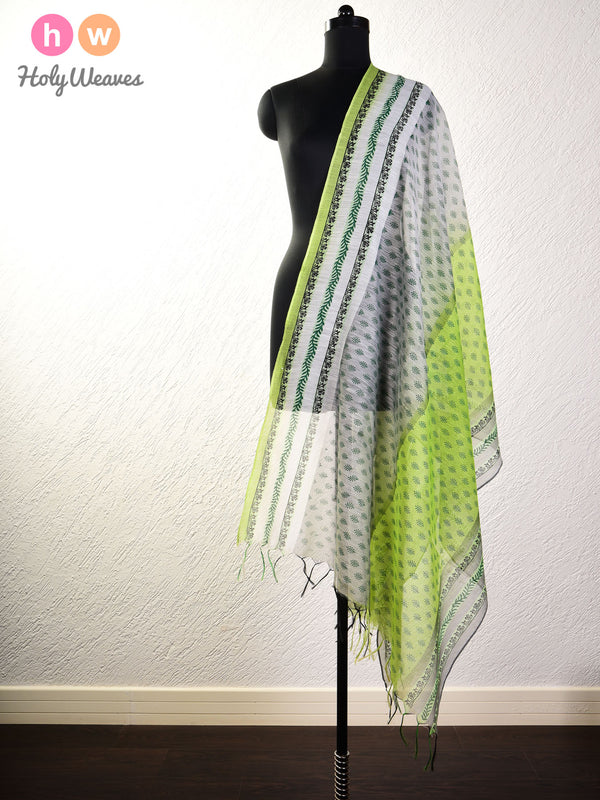 Green Printed Cotton Silk Dupatta- HolyWeaves