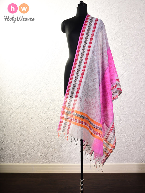 Gray Printed Cotton Silk Dupatta - HolyWeaves