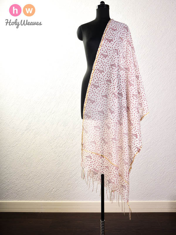 Cream Paan Printed Cotton Silk Dupatta- HolyWeaves