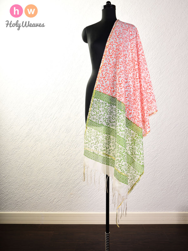 Cream Printed Cotton Silk Dupatta - HolyWeaves