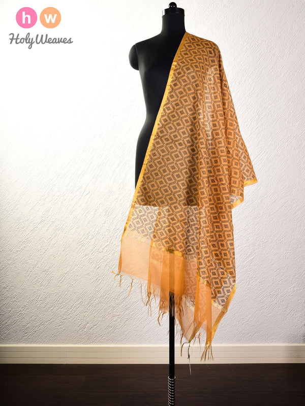 Mustard Yellow Printed Cotton Silk Dupatta- HolyWeaves