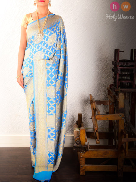 Blue Banarasi Khaddi Cutwork Brocade Handwoven Georgette Saree