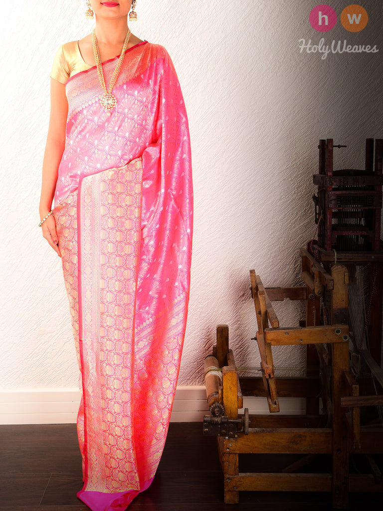 Pink Cutwork Brocade Handwoven Katan Silk Saree