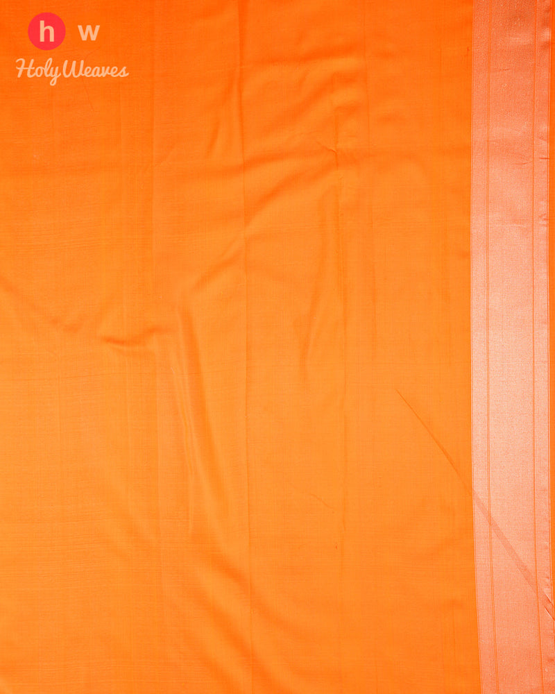 Orange Banarasi Meenedar Zari Brocade Handwoven Katan (कतान) Silk Saree - HolyWeaves