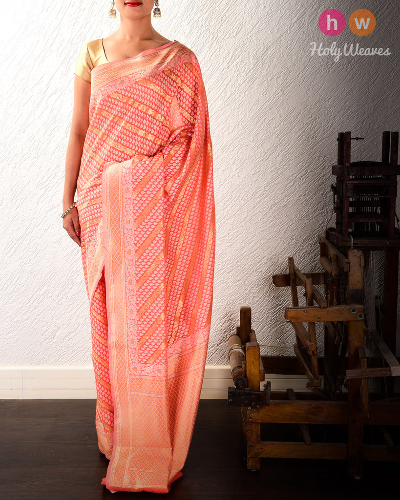 Salmon Pink Banarasi Diagonal Bel Alfi Cutwork Brocade Woven Cotton Silk Saree