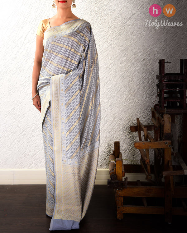 Gray Banarasi Diagonal Bel Alfi Cutwork Brocade Woven Cotton Silk Saree- HolyWeaves