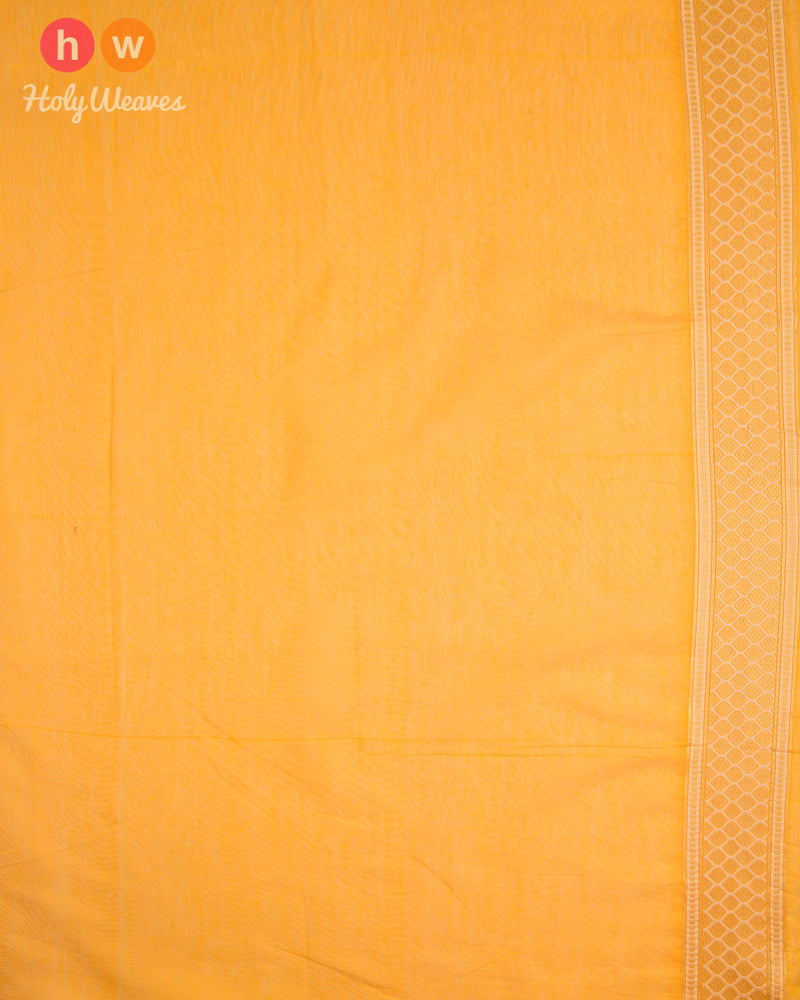 Golden Yellow Banarasi Diagonal Bel Alfi Cutwork Brocade Woven Cotton Silk Saree- HolyWeaves