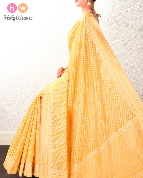 Golden Yellow Banarasi Diagonal Bel Alfi Cutwork Brocade Woven Cotton Silk Saree