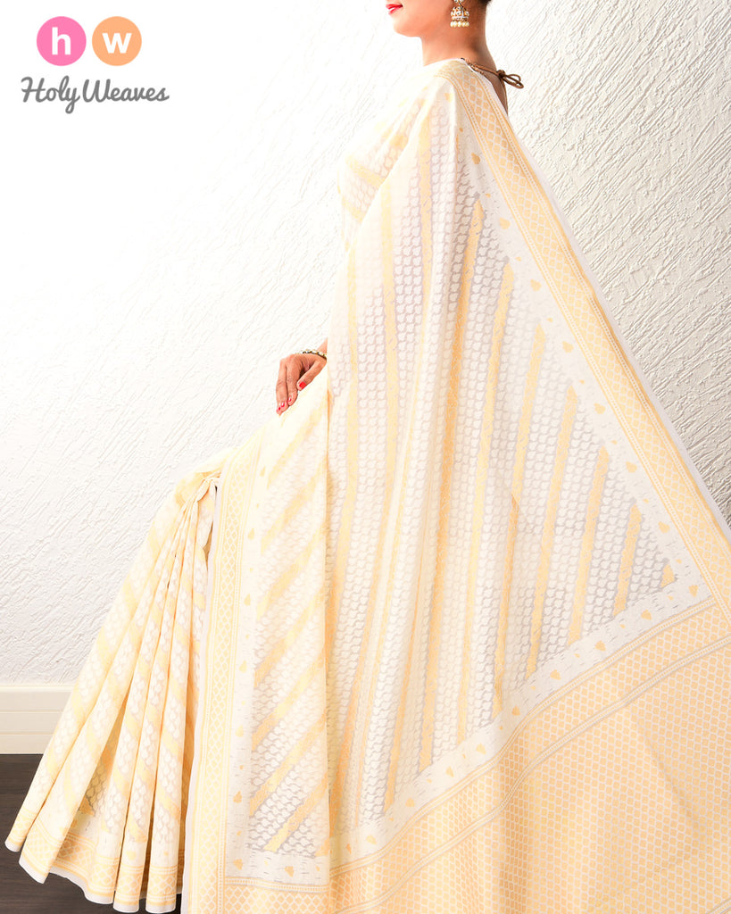 Cream Banarasi Diagonal Bel Alfi Cutwork Brocade Woven Cotton Silk Saree