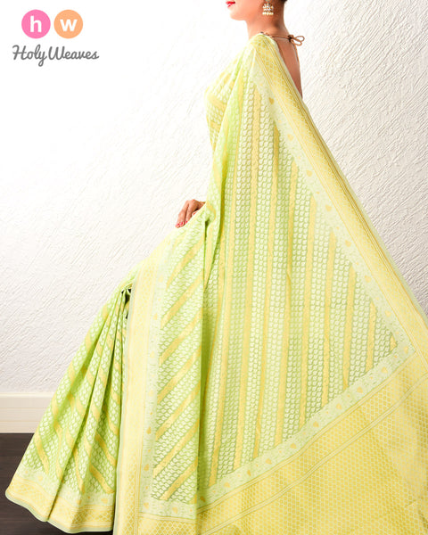 Green Banarasi Diagonal Bel Alfi Cutwork Brocade Woven Cotton Silk Saree