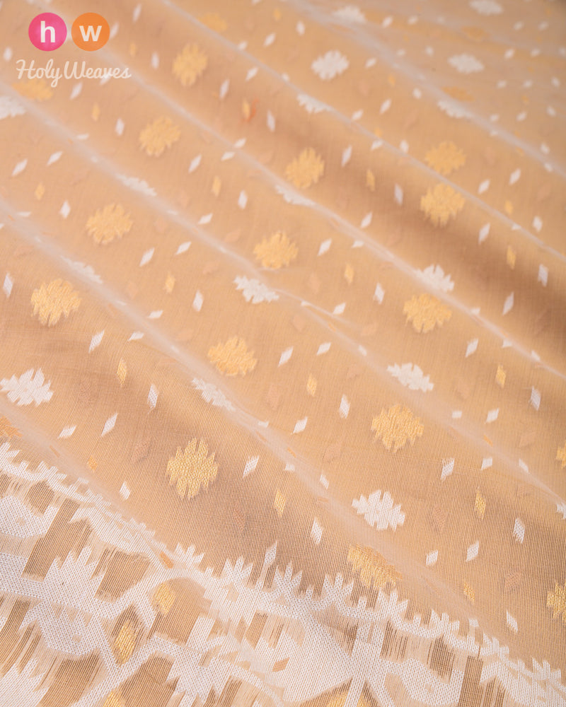 Beige Alfi Cutwork Brocade Woven Cotton Silk Saree - HolyWeaves