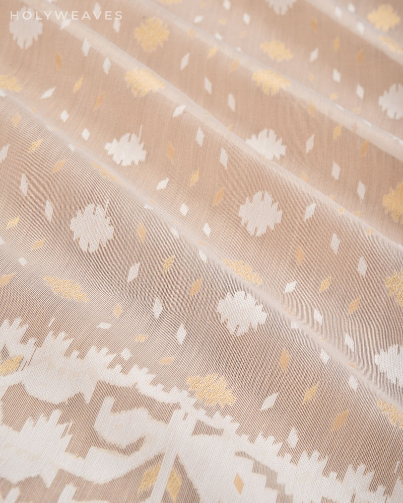 Cream Alfi Cutwork Brocade Woven Cotton Silk Saree- HolyWeaves