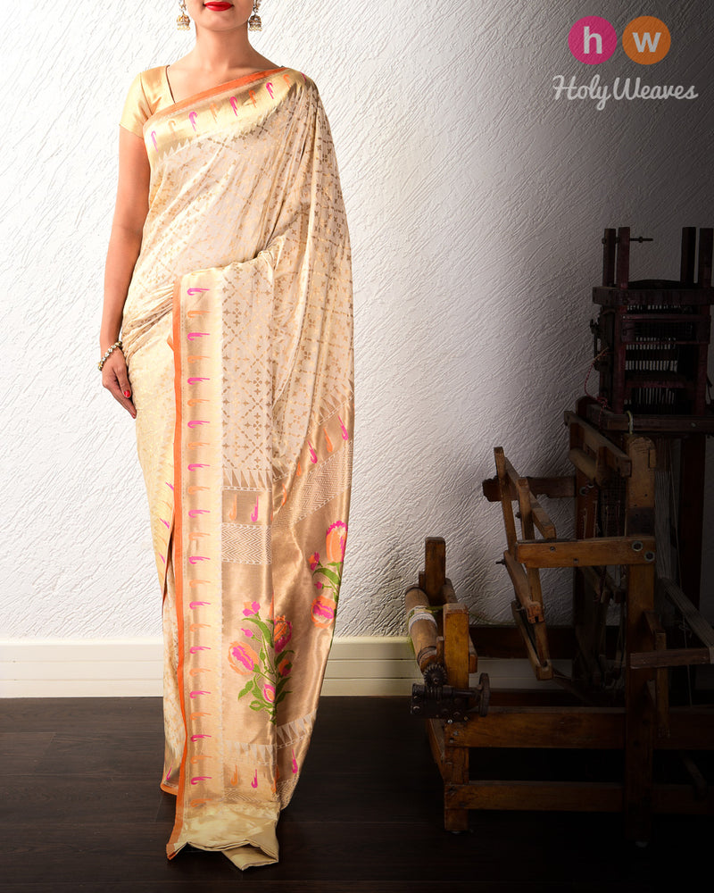 Cream Banarasi Paithani Cutwork Brocade Handwoven Katan Silk Saree- HolyWeaves