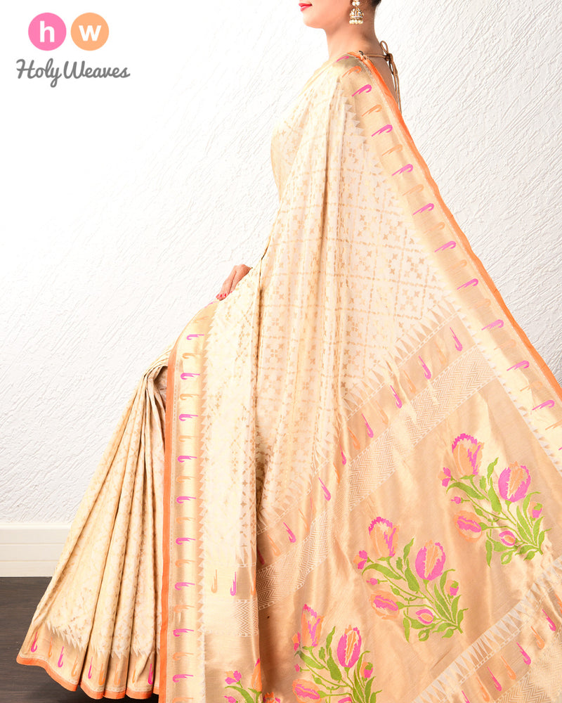 Cream Banarasi Paithani Cutwork Brocade Handwoven Katan Silk Saree - HolyWeaves
