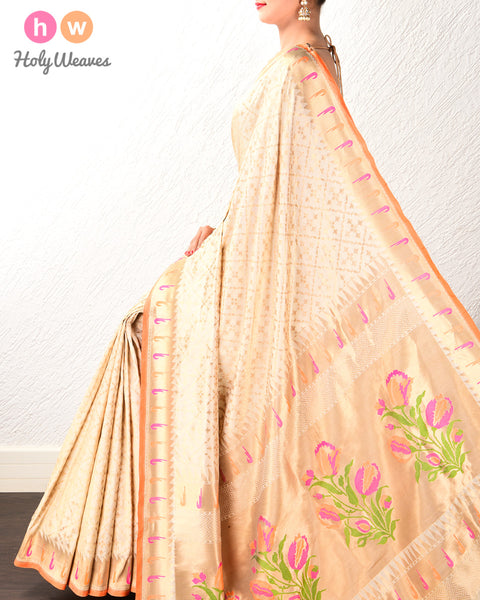 Cream Banarasi Paithani Cutwork Brocade Handwoven Katan Silk Saree