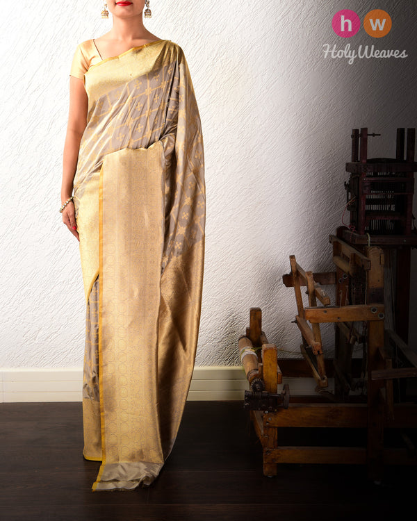 Stone Gray Cutwork Brocade Handwoven Katan Silk Saree- HolyWeaves