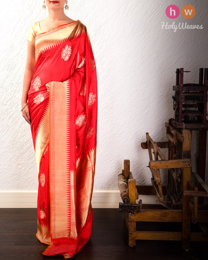 Red Banarasi Alfi Buta Kadhuan Brocade Handwoven Katan Silk Saree with Brocade Blouse Piece- HolyWeaves