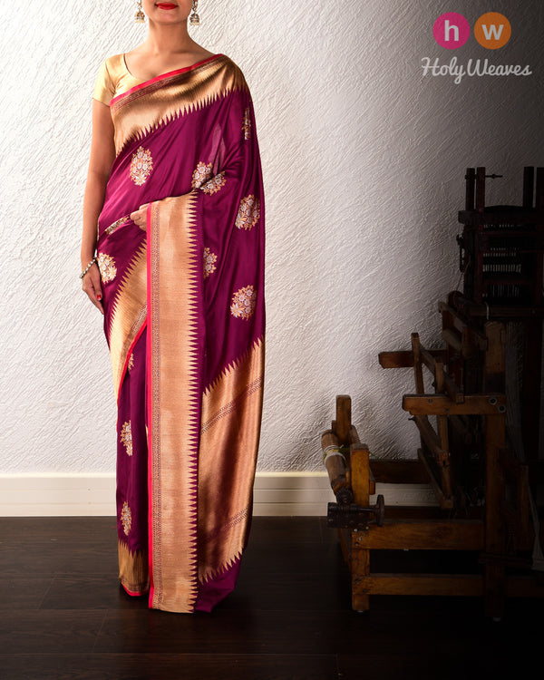 Byzantium Purple Banarasi Sona-Rupa Buta Alfi Kadhuan Brocade Handwoven Katan Silk Saree with Brocade Blouse Piece